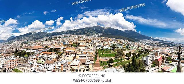 Ecuador, Quito, cityscape with old town and volcano Pichincha