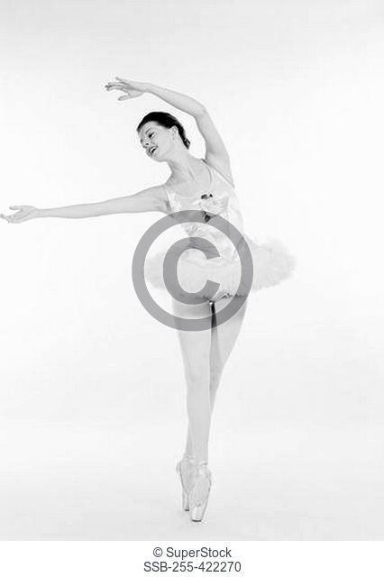 Studio shot of ballerina dancing