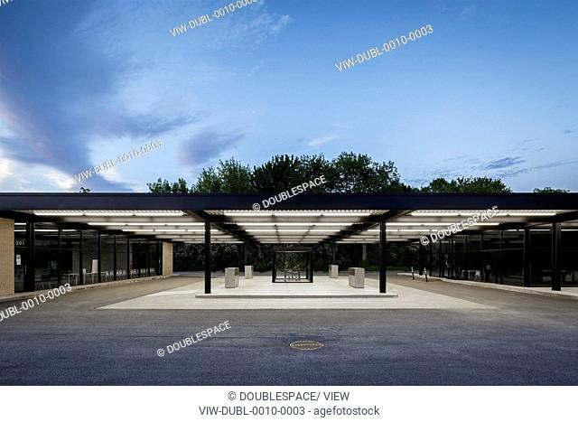 Mies van der Rohe Gas Station, Montreal, Canada. Architect: Architectes FABG, 2011. Main elevation at dusk