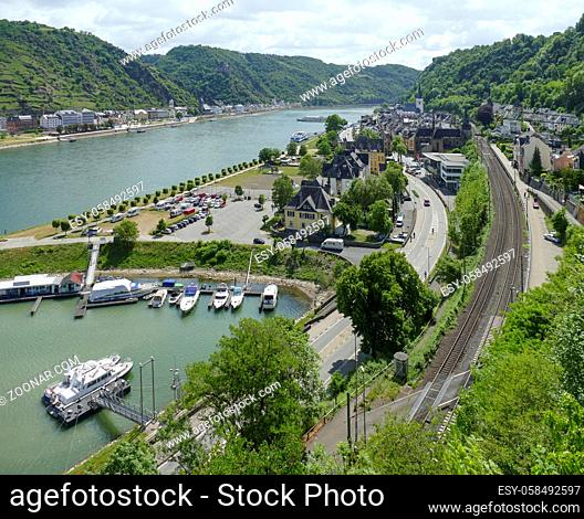 high angle view of Sankt Goar at the Rhine Gorge in Rhineland-Palatinate, Germany
