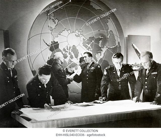 Movie still from a U.S. Army film about a hypothetical attack using an atomic bomb, Nov. 1948. Scene of Army generals in a nuclear war room