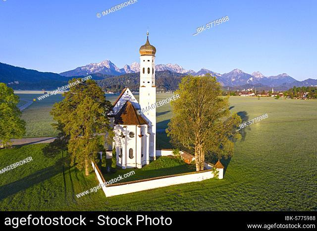 Church St. Coloman, near Schwangau, in the back the Tannheimer mountains, drone picture, East Allgäu, Allgäu, Swabia, Bavaria, Germany, Europe
