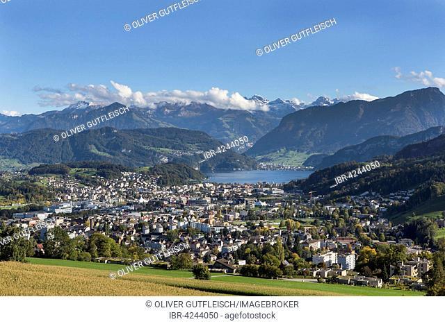 View from Sonnenberg on Kriens, Lucerne, Switzerland