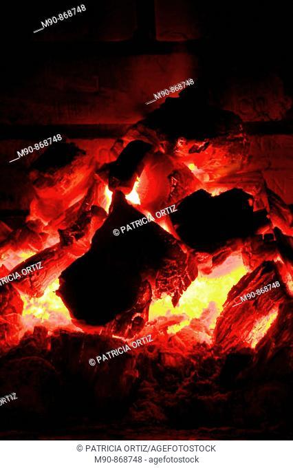 Coal fire    in red tones!