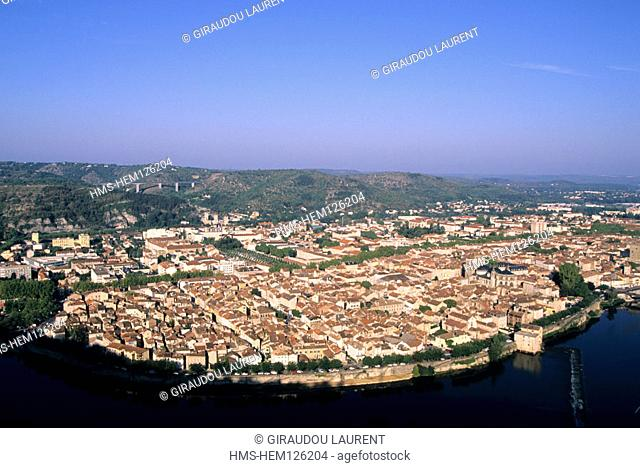 France, Lot (46), Cahors city view from the Saint Cyr mount