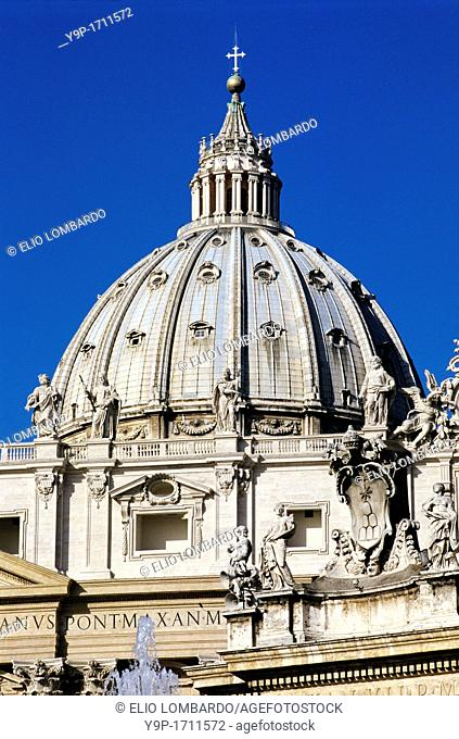 The Dome of Saint Peter's Basilica  Vatican City, Rome, Italy