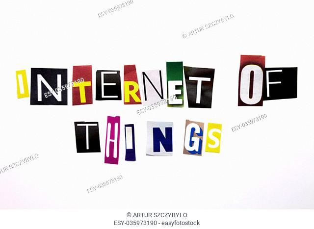 A word writing text showing concept of Internet Of Things made of different magazine newspaper letter for Business case on the white background with copy space