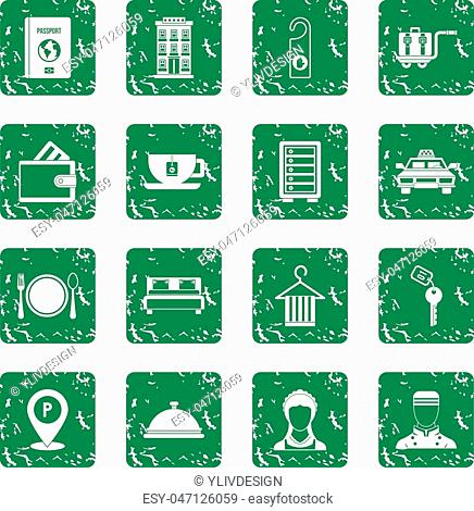 Hotel icons set in grunge style green isolated vector illustration