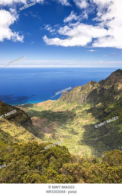 Aerial view of mountains and coastline, Hawaii, United States
