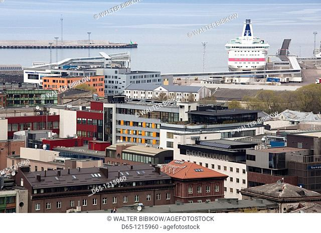 Estonia, Tallinn, ferry port, elevated view