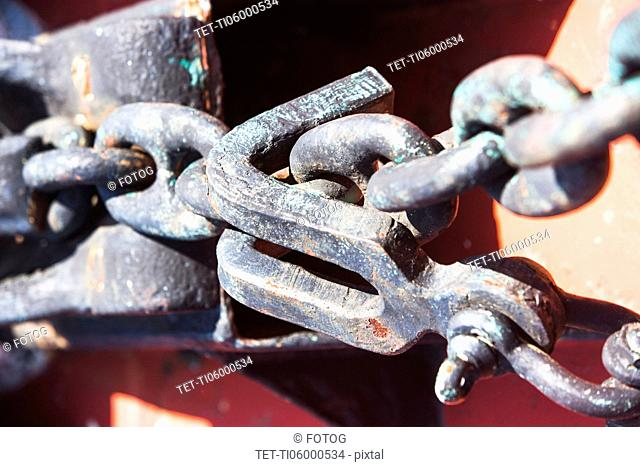 Close-up view of chain and hook