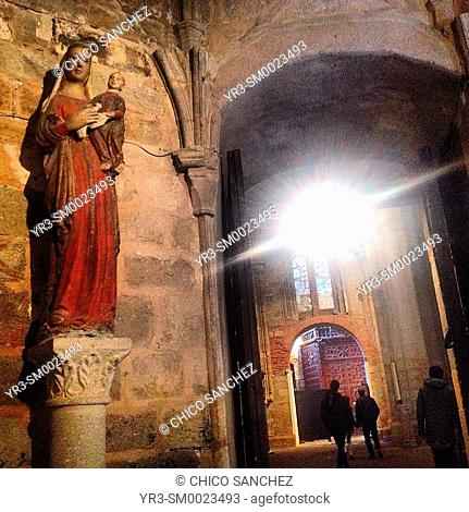 An image of the Virgin Mary holding Baby Jesus decorates a museum in the Cathedral of Plasencia, Caceres, Spain