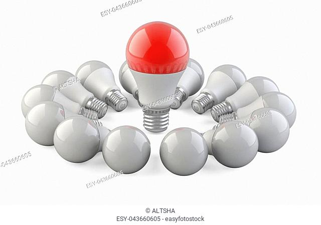 One unique red lamp from the other bulbs located in the form of a circle. Leadership concept. 3d Illustration