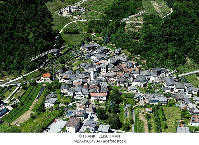 Levico, Selva, mountain village, aerial picture, Valsugana, Trentino, Italy
