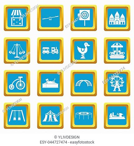 Amusement park icons set in azur color isolated illustration for web and any design