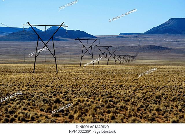 High voltage pylon across the namibian desert, Namibia, Africa