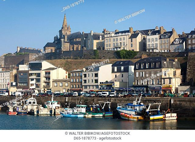 France, Normandy Region, Manche Department, Granville, elevated view of port and Haut Ville, Upper City, morning