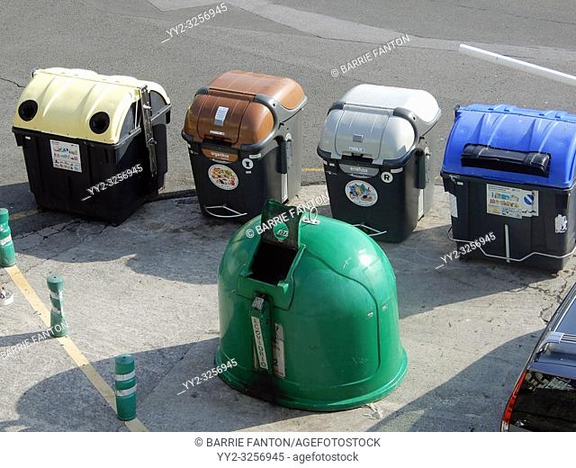 Trash and Recycle Bins With Picture Labels, San Sebastián, Spain