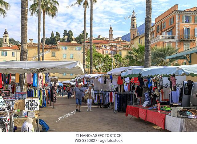 France, Alpes Maritimes, Menton, market at the foot of the old town