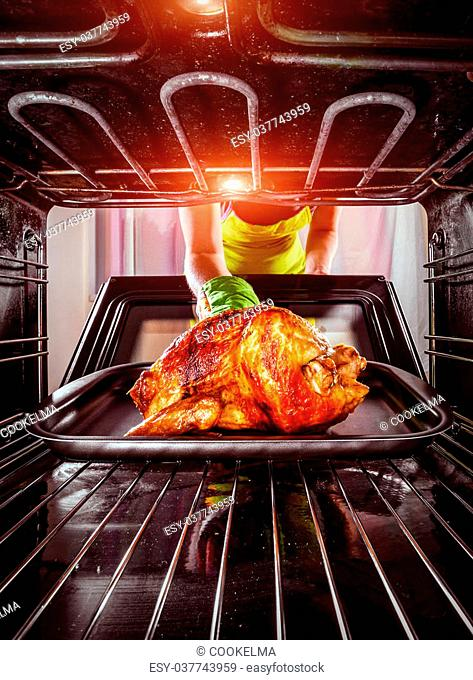 Housewife prepares roast chicken in the oven, view from the inside of the oven. Cooking in the oven. Thanksgiving Day