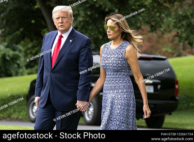 President Donald Trump and First Lady Melania Trump depart the White House in Washington, DC on Wednesday, May 27, 2020. President Trump and the First Lady are...
