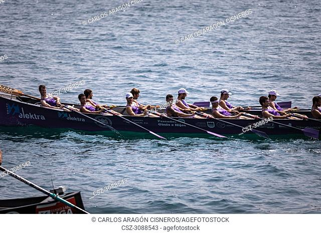 CASTRO URDIALES, SPAIN - JULY 15, 2018: Competition of boats, regata of trainera, San Pedro boat in action in the VI Bandera CaixaBank competition