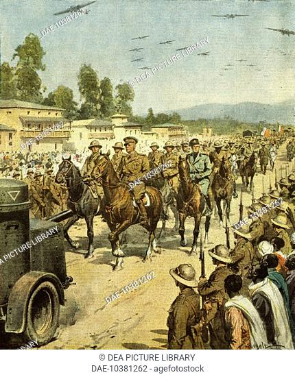 Marshal Badoglio entering Addis Ababa at the head of his victorious troops. By Achille Beltrame (1871-1945), illustration from La Domenica del Corriere, May 17