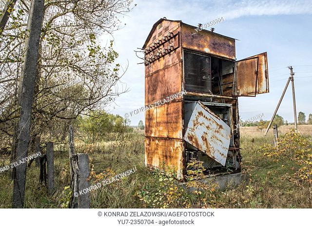 Old and rusty transformer station of kolkhoz in Korohod village, Chernobyl Exclusion Zone, Ukraine