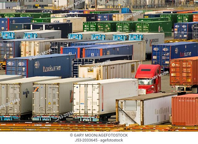 Cargo containers on trailers, parked at container ship terminal, Port of Tacoma, Washington