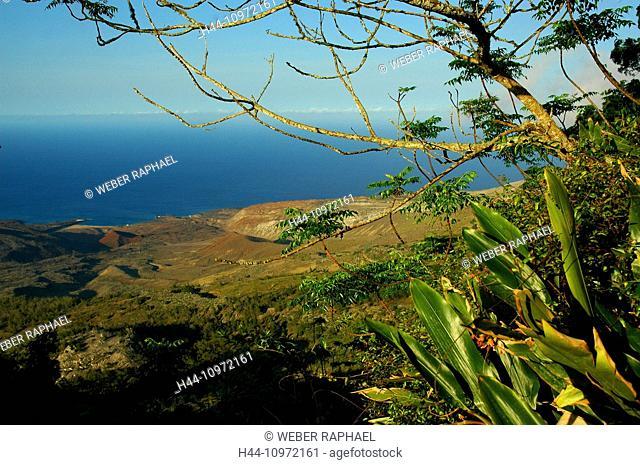 Ascension, Ascension Island, coast, sea, view, green mountains, rain forest, Atlantic, volcano