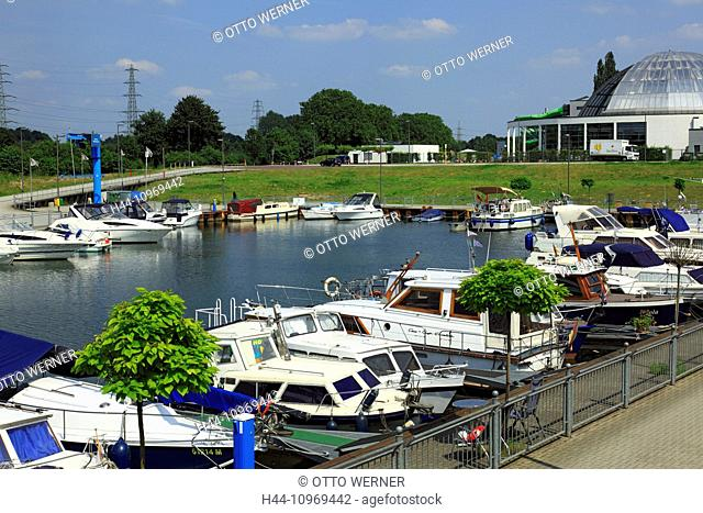 Germany, Europe, Oberhausen, Ruhr area, Lower Rhine, Rhineland, North Rhine-Westphalia, Germany, Europe, Neue Mitte, Heinz-Schleusser-Marina, harbour, port