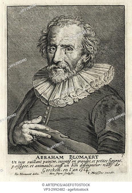ABRAHAM BLOMAERT - Woodcut portrait and short biography (old french language) - Engraving 17th century