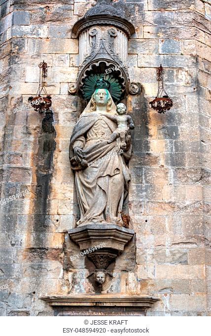 Statue of the Virgin Mary near the cathedral in Girona, Spain