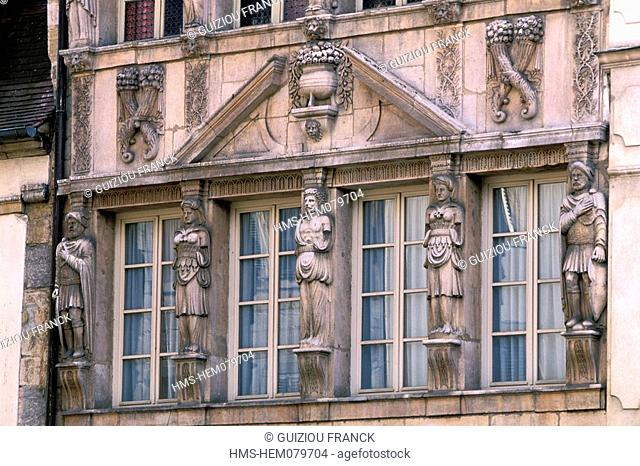 France, Cote d'Or, Dijon, the House of the Cariatides