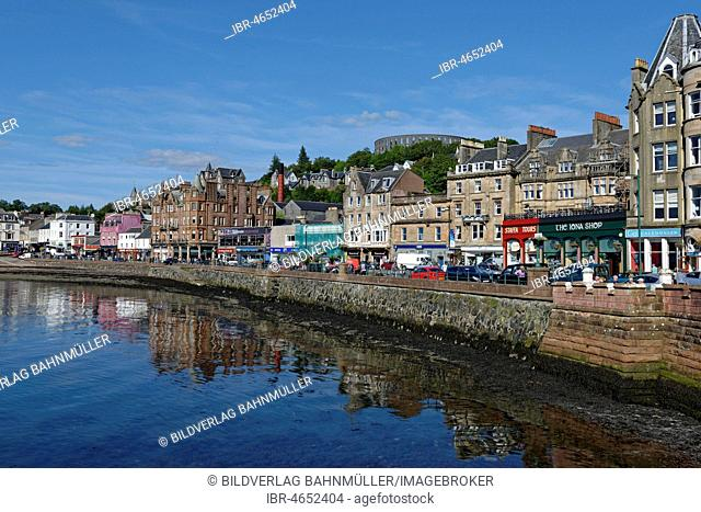 Port and city centre with McCaig's Tower, Oban, Argyll and Bute, Scotland, Great Britain