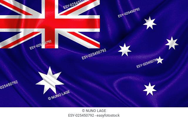 Flag of Australia waving in the wind with highly detailed fabric texture
