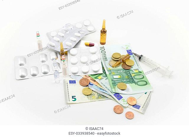 composition with euros, bullets, drugs