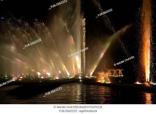 Colorful illuminated water fountain, park Planten un Blomen, Hamburg, Germany, Europe