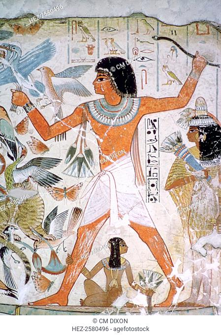 Egyptian wall-painting of fowling from the tomb of Nebamun at Thebes