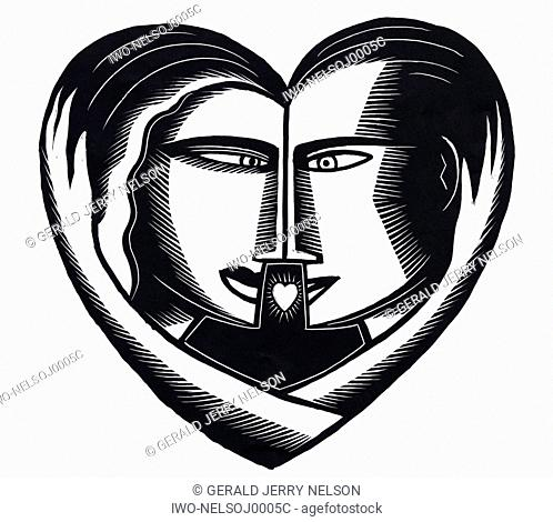 Couple Face to Face in Heart
