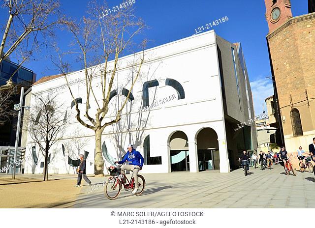 Left: CCCB Theatre. Right: Santa Maria de Montalegre church. Joan Coromines square, Barcelona, Catalonia, Spain