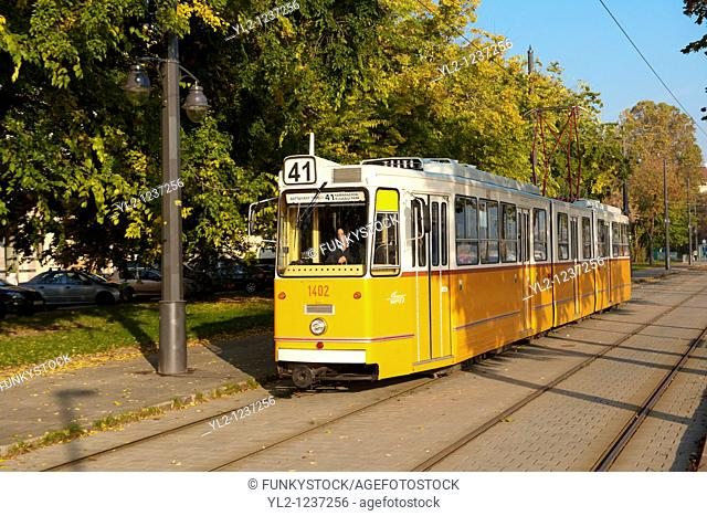 Traditional yellow Budapest Tram, Hungary