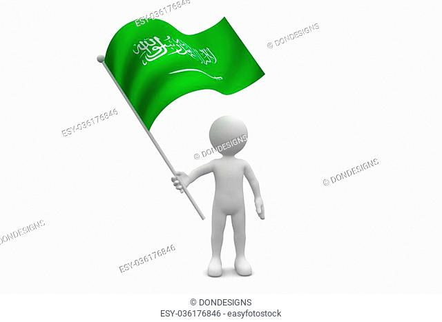 Saudi Arabia Flag waving isolated on white background