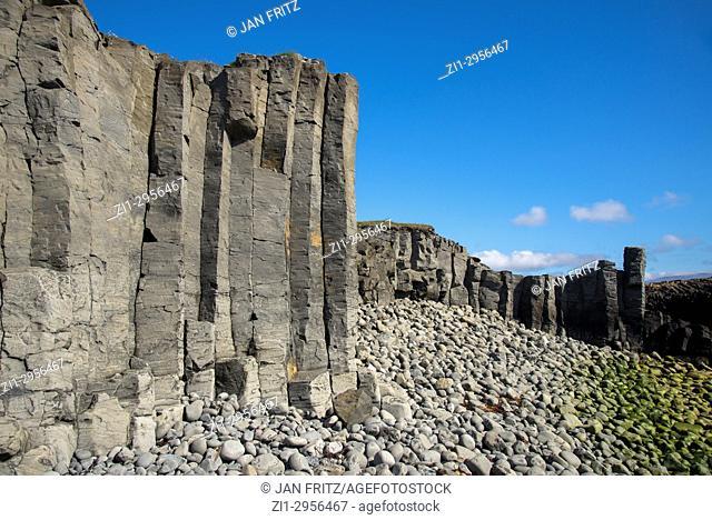 Geological hexagonal formations at Kalfshamarsvik in Iceland