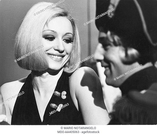 Raffaella Carrà during the rehearsal of Milleluci. Italian TV host, actress, singer and showgirl Raffaella Carrà (Raffaella Maria Roberta Pelloni) smiling...