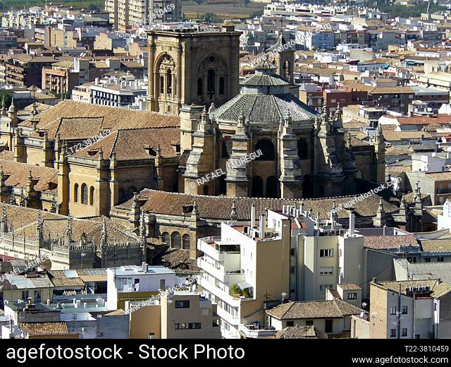 Granada (Spain). View of the Cathedral of Granada from the Alhambra in Granada