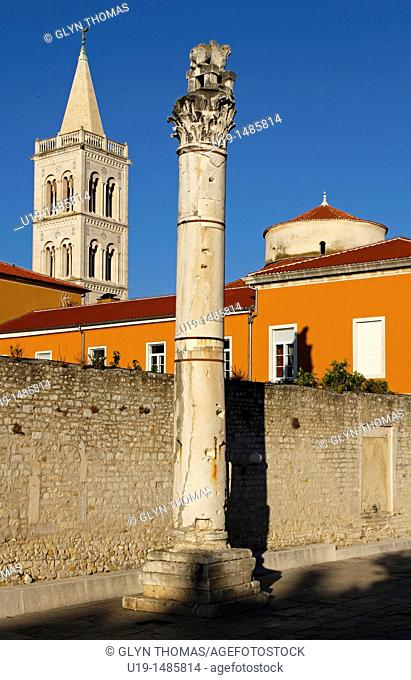 Roman Column and Cathedral Tower, Zadar, Croatia