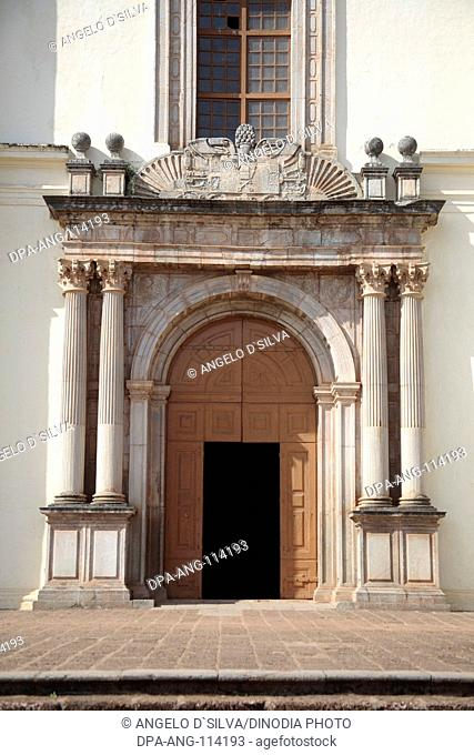 The main entrance of the Se Cathedral , Old Goa , India