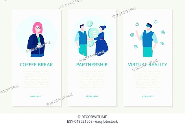 Modern business - set of flat design style banners on grey background with place for text. Businesspeople with a cup, shaking hands, in VR goggles