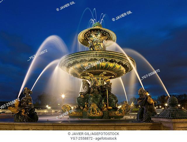 Fontaine des Mers, Concorde square, Paris, Ile de France, France